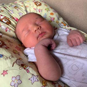 Lydia resting comfortably on her MisSpelt Baby Bobo